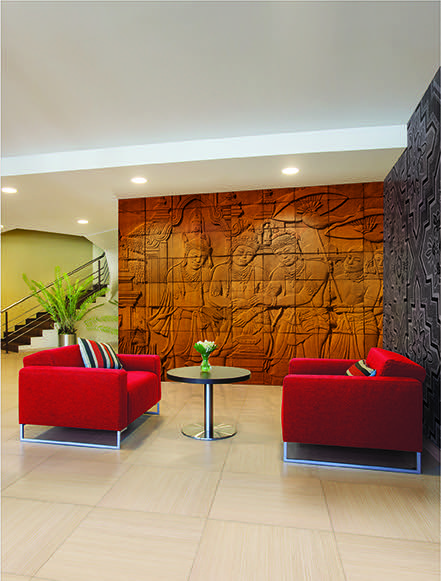 Imagitect used in hotels to create high profile custom walls that will not fade, tear or peel.